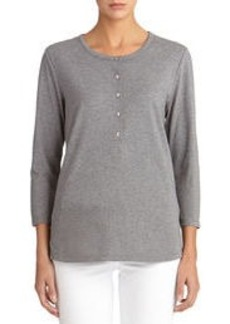 3/4-Sleeve Crew Neck Top with Quilted Shoulders
