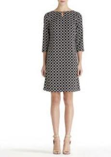 3/4 Sleeve Dress with Keyhole Neck