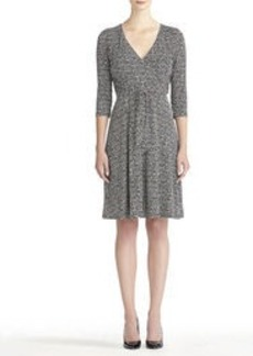 3/4 Sleeve Faux Wrap Dress (Plus)