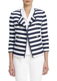 3/4-Sleeve Jacket with Navy and White Stripes
