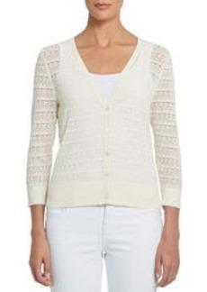 3/4 Sleeve Sheer V-Neck Cardigan Sweater