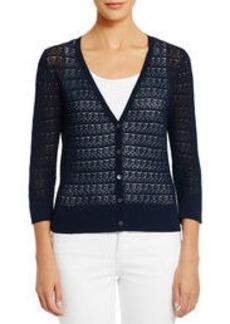 3/4 Sleeve Sheer V-Neck Cardigan Sweater (Plus)
