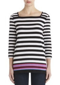 3/4 Sleeve Square Neck Pullover (Plus)