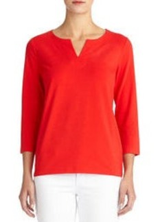 3/4 Sleeve Stretch Cotton Crew Neck Tee Shirt with Split Neck (Plus)