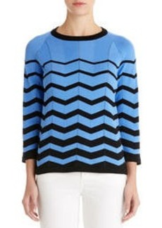 3/4 Sleeve Sweater with Chevron Stripes