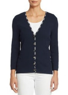 3/4 Sleeve V-Neck Cardigan Sweater with Trim