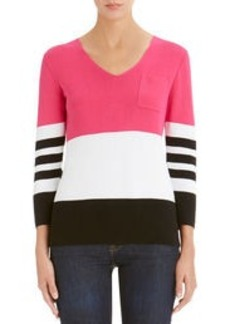 3/4 Sleeve V-Neck Colorblock Pullover