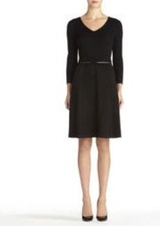 3/4 Sleeve V-Neck Sweater Dress