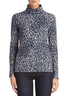 Animal Print Cotton Turtleneck (Petite)