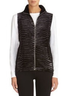 Animal Print Mock Neck Velour Vest