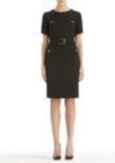 Belted Stretch Sheath Dress