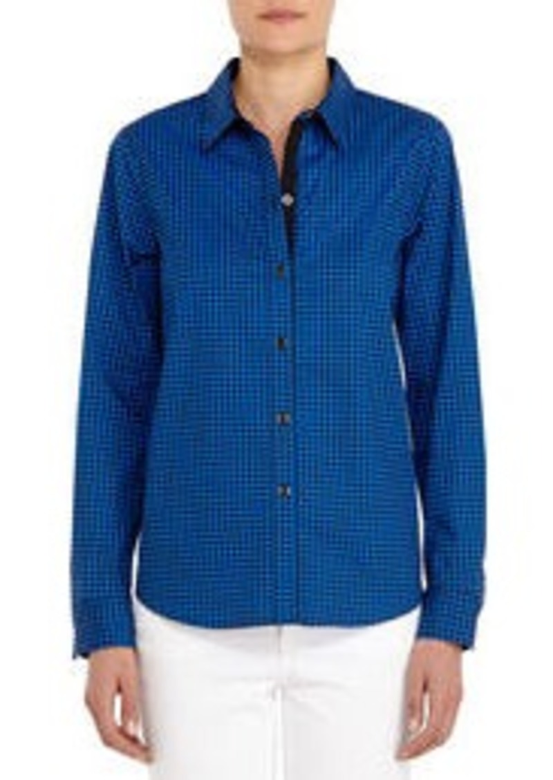 Black and Blue Stretch Cotton Long-sleeve Shirt (Petite)