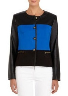 Black and Cobalt Blue Color Block Jacket (Petite)