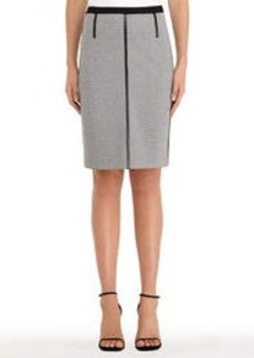 Black and Ivory Ponte Knit Colorblocked Skirt