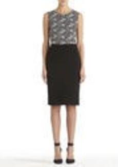 Black and Ivory Sleeveless Sheath Dress