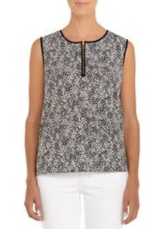 Black and Ivory Sleeveless Shell with Zip Front