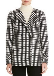Black and White Double Breasted Blazer (Plus)