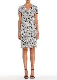 Black and White Floral Wrap Dress with Short Sleeves