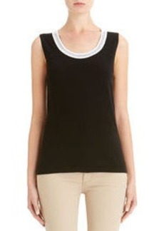Black and White Scoop Neck Shell