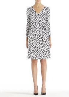 Black and White Wrap Dress with Tie Belt