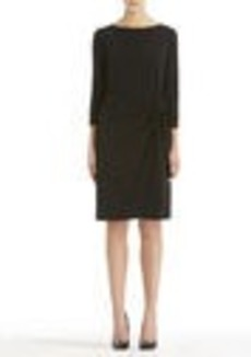 Black Boat Neck Wrap Dress