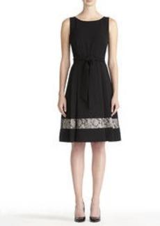 Black Crepe Dress with Lace Border (Plus)