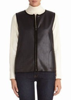 Black Faux Shearling Vest (Petite)