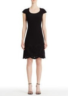 Black Fit and Flare Dress with Lace Hem