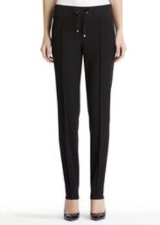 Black Knit Pants with Elastic Waistband (Petite)
