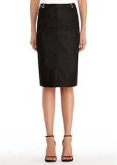 Black Pencil Skirt with Buckles (Petite)