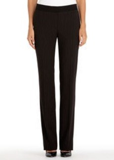 Black Pinstripe Pants with Flared Legs