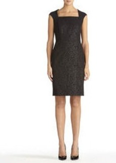 Black Sheath Dress with Bonded Lace