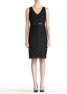 Black Sheath Dress with Lace Overlay