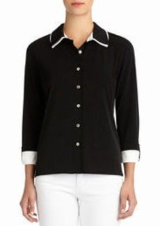 Blouse with Double Collar and Roll Tab Sleeves (Plus)