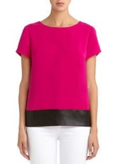 Blouse with Faux Leather Trim (Petite)