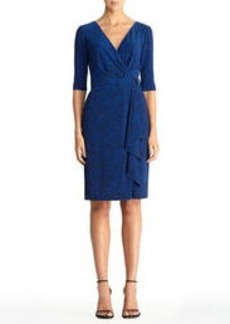 Blue Leopard Wrap Dress (Plus)