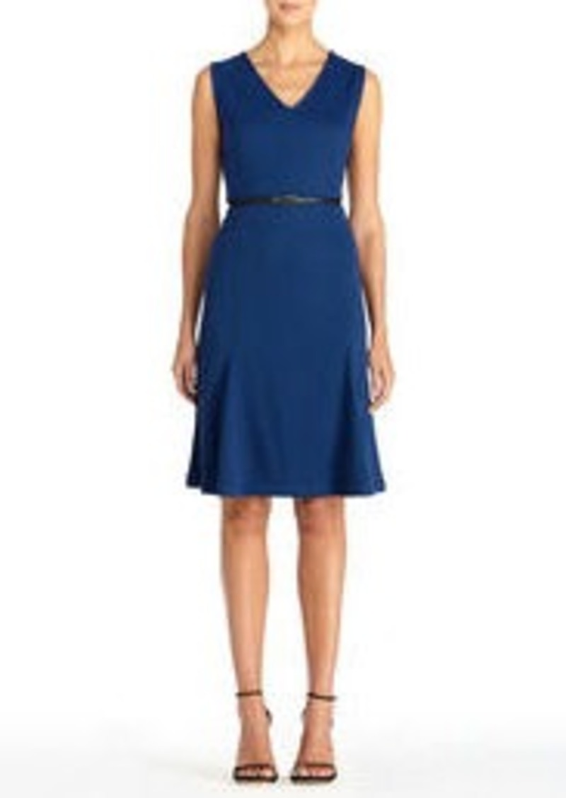 Blue Sleeveless V-Neck Dress with Belt