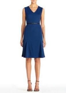 Blue Sleeveless V-Neck Dress with Belt (Plus)