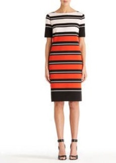 Boat Neck Dress with Elbow Sleeves