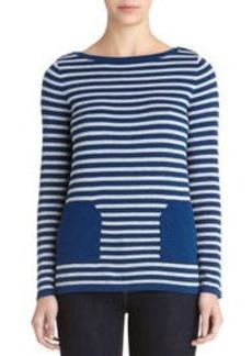 Boat Neck Long Sleeve Sweater (Plus)