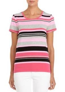Bold and Beautiful Striped Short Sleeve Shirt (Plus)