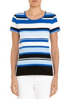 Bold and Beautiful Striped Short Sleeve Shirt (Plus)