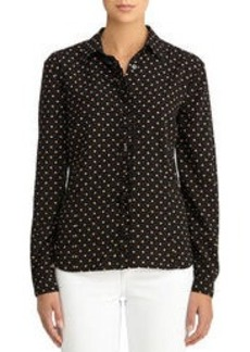 Button Front Blouse with Ruffled Placket