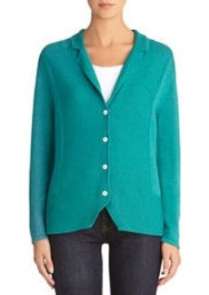 Button Front Cardigan Sweater with Notched Collar
