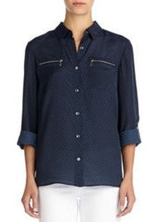 Button Front Shirt with Roll Sleeves (Petite)