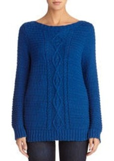 Cable Knit Sweater with Boat Neck