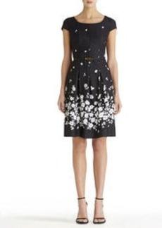 Cap Sleeve Dress with Pleats