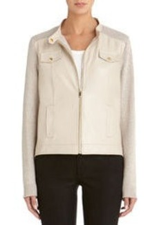 Cardigan Sweater with Faux Leather Front