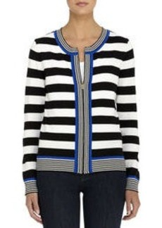Cardigan with Black and Ivory Stripes