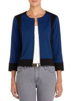 Cardigan with Crew Neck and 3/4 Sleeves (Plus)
